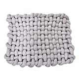Wonder Space Knotted Braided Plush Mat, Baby Infant Newborn Sleeping Tummy Time Playing Nursery Rug Knot Floor Cushion, Handmade Pure Soft Cotton, Fashion Cute Toddler Children Room Decor, Grey