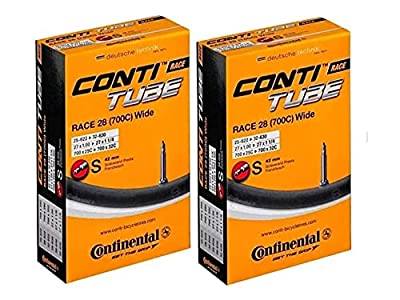 Continental Race 28 700x25-32c Bicycle Inner Tubes - 42mm Long Presta Valve - 2 Pack w/ Conti Sticker
