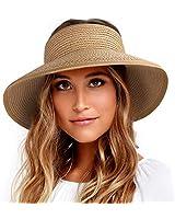 FURTALK Roll Up Sun Visor Wide Brim Straw Hats for Women Ponytail Summer Beach Hat UV UPF Travel Foldable Packable (One Size, Pure Khaki)