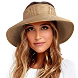 FURTALK Roll Up Sun Visor Wide Brim Straw Hats for Women Ponytail Summer Beach Hat UV UPF Travel Foldable Packable (One Size, Pure Khaki)