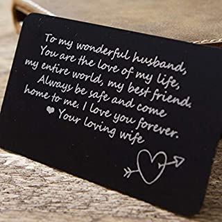 Engraved Aluminum Wallet Love Card Insert One Side Engraving 93
