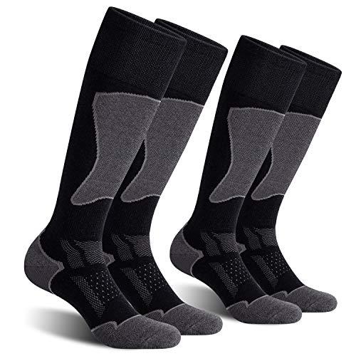 CelerSport 2 Pack Men's Ski Socks for Skiing, Snowboarding, Cold Weather, Winter Performance Socks, Black+Grey, Shoe Size 9.5-11.5
