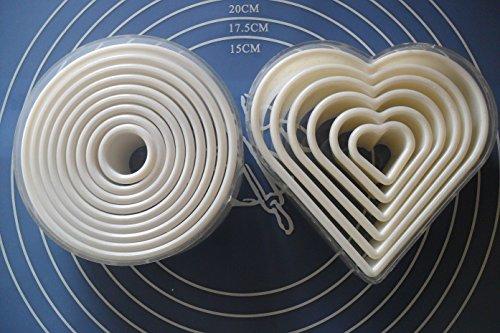 LaPetiteCaverne - Lot 15 Emportes Pieces Decoupoirs Formes Rond/Coeur Lisses/Unis Patisserie