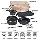 Bruntmor Pre-Seasoned 7 Piece Heavy Duty Cast Iron Dutch Oven Camping Cooking Set with Vintage Carrying Storage Box #4