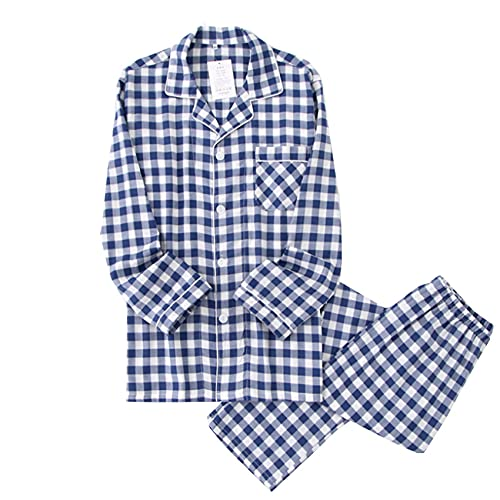 WAEKQIANG Nuevos Pantalones De Manga Larga De AlgodN Lavado Pijamas De Hombre Pijamas De AlgodN De Solapa De Primavera Y OtoO Pijamas De Hombre Pijamas
