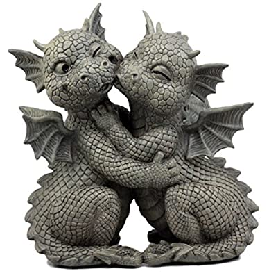 """Ebros Gift Fiery Romance Hatchling Dragon Lovers Garden Statue Faux Stone Resin Finish 10"""" H Dragon Hugs Home Decor Figurine Dungeons and Dragons Fantasy Art"""