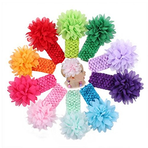 Liasun 10 unidades por paquete de diademas para bebés y niñas – Bandas para el pelo elásticas suaves 10 bonitos colores de gasa flores para el pelo para bebés niñas y niños (diademas de gasa)