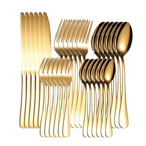 Juego de cubiertos de oro Set de cubiertos de acero inoxidable verde Conjunto de vajillas de cocina Set Cuchara Tenedor Cuchillo Tenedor completo Vajilla occidental (Color : Gold)