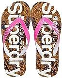 Superdry Printed Cork Flip Flop, Chanclas Mujer, Rosa Fluro Pink Dark Navy Hibiscus Nf9, 40/41 EU