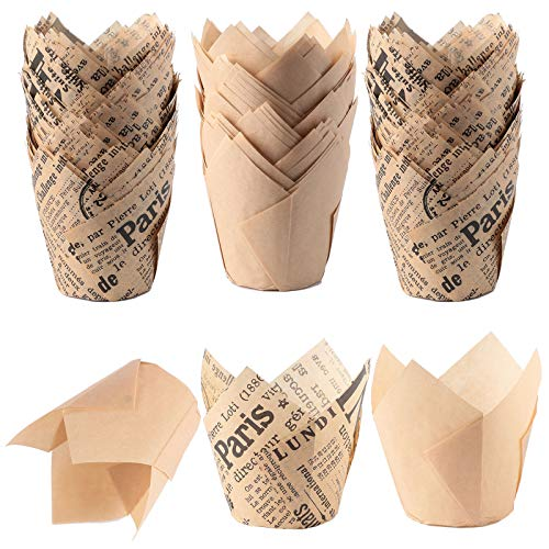 150 Pieces Tulip Cupcake Baking Cups Baking Paper Cups Cupcake Liners Muffin Wrappers for Wedding Birthday Party Baby Shower, 2 Styles