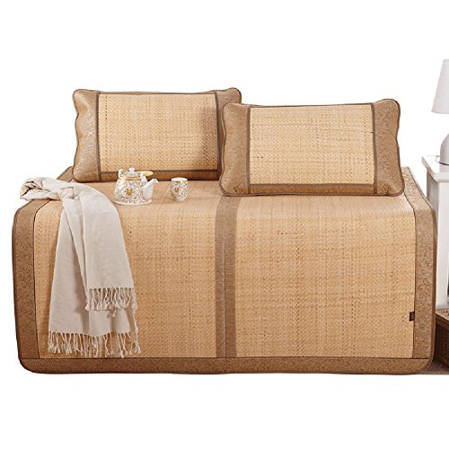 HAIPENG Sommerschlafmatte Coole Matratze Bambusmatte Kalt Bett Bambus Matte ( Mit 2 Kissenbezüge) 3-teilig Doppelt Bett Verdicken Rebe Faltbar 1,5m Bett ( größe : 180x198cm )