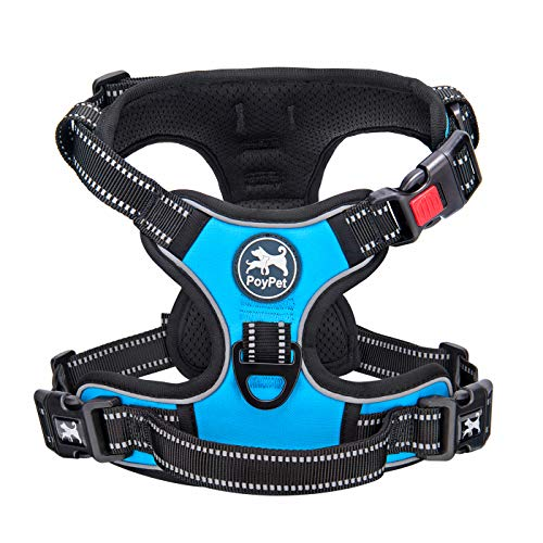 PoyPet No Pull Dog Harness, No Choke Front Lead Dog Reflective Harness, Adjustable Soft Padded Pet Vest with Easy Control Handle for Small to Large Dogs(Blue,M)