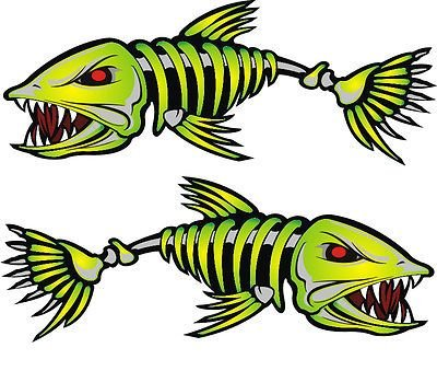 2 Pieces Set #4 | Kayak Decals Fish Bones Skeleton Stickers for Kayak Canoe Fishing Boat Wall Car Accessories