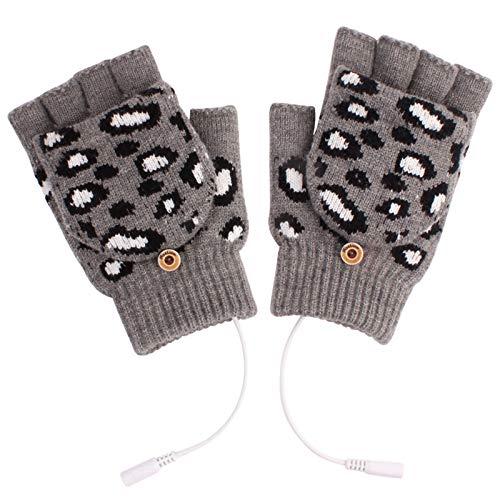 Briskorry - Guanti riscaldabili da donna, senza dita, motivo leopardato, con dita pieghevoli, con riscaldamento USB grigio Taglia Unica