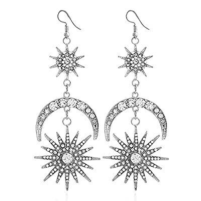 Exaggerated Luxury Sun Moon Stars Drop Earrings Rhinestone Punk Earrings for Women Jewelry Golden Boho Vintage Statement Earrings (Silver)