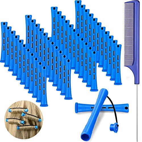 48 Barras de Permanente de Pelo Barras Cortas de Onda Fría Varillas de Permanente de Plástico Rulos de Pelo con Peine de Cola de Rata de Acero para Peluquería (Azul y Azul Oscuro, 0,35 Pulgada