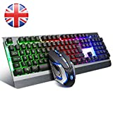 Gaming Keyboard (UK layout), SADES Whisper LED Backlit USB Wired Keyboard and Mouse Combo Set for PC MAC/Win Gamer, Black