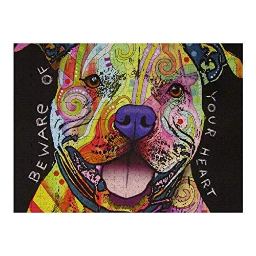 OneMtoss Pitbull Florecent Dog Wall Art Pinturas de madera Jigsaw Puzzle 1000 piezas para sala de estar regalos para niños