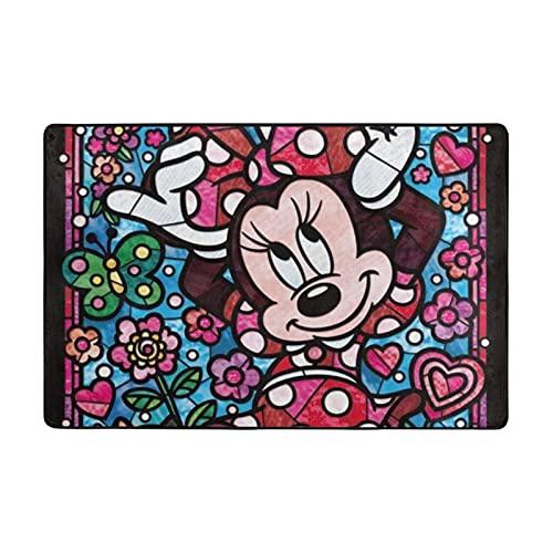 Alfombra de Mickey Mouse Minnie adecuada para sala de estar, dormitorio, zona de los niños, decoración de casa de arte suave y cómoda, 72 x 48 pulgadas