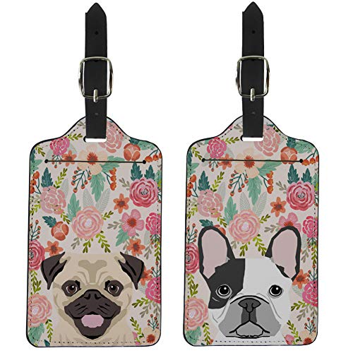 Coloranimal Travel Accessories Luggage Tags for Women Ladies Funny Animal Pug Dog&French Bulldog Floral Design 2 Pcs Set Suitcase Labels