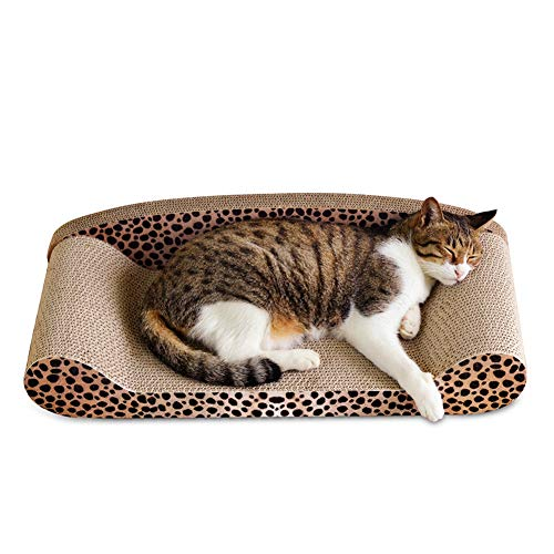SZFY Cat Scratcher Lounge, Corrugated Cat Scratcher Cardboard Protector for Furniture, Eco-Friendly Cat Toy with Catnip, Keep Cats Fun Healthy