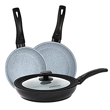 Cooksmark Faraday Induction Compatible Dishwasher Safe With Universal Silicone & Glass Lid Granite Nonstick Coating Aluminum Frying Pan set, Cookware Set, 3 piece (8-Inch, 10-Inch, 11-Inch)