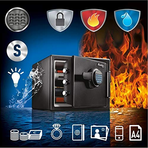 Master Lock LFW082FTC Fireproof Safe 22.8L [Fire & Water Resistant] [Large] [Digital Combination] -for ID Papers, A4 Documents, Laptop Computers, Jewels