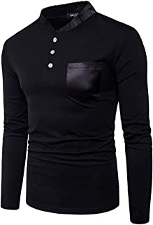Gergeos Mens Long-Sleeve Shirts Regular Fit Stand Collar Casual Button Shirts Pullover Sweatshirt Autumn