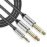 Gxfcyffs Cable Audio Jack 3.5mm a Doble Mono 6.35mm 1M, Cable Jack 3.5 a 6.35 Mono, Nailon Trenzado con Núcleo de Cobre Plateado para Guitarra, Mezclador, Amplificador, Altavoces