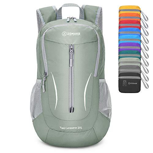 ZOMAKE Ultra Lightweight Packable Rucksack, 25L Klein Wasserfest Wandern Daypack Faltbarer Reiserucksack für Männer Frauen im Freien (Silbergrau)