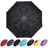 YumSur Paraguas Plegables Automático Antiviento, Paragua de Bolsillo compacta y Ligera, Paraguas automático de Viaje para Mujer Hombre, Gotas de Lluvia Diseño