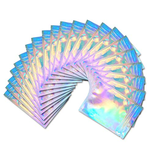 100 Pieces Holographic Zip Seal Bags – Smell Proof Bags – (Holographic Color, 4 x 6 Inches) – Foil Bags for Party,Candy, Spices, Coffee, Snacks – Food Storage – Reusable Foil Pouch Bag