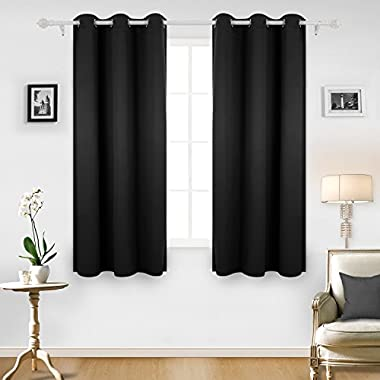 Deconovo Room Darkening Thermal Insulated Grommet Window Blackout Curtains Panels for Living Room Black 42x63 Inch 4 Panels