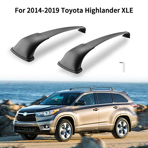 MONOKING Roof Rack Cross Bars Compatible with 2014-2019 Toyota Highlander XLE SE Limited, Aluminum ABS Luggage Crossbar Carrier Canoe Bike Kayak Cargo Rooftop 155 LBS Max Load
