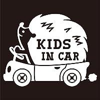 imoninn KIDS in car ステッカー 【シンプル版】 No.37 ハリネズミさん (白色)
