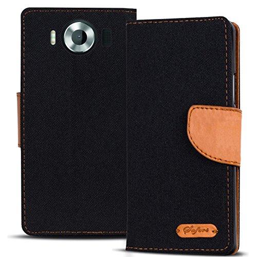 Verco Lumia 950 Hülle, Schutzhülle für Microsoft Lumia 950 Tasche Denim Textil Book Hülle Flip Hülle - Klapphülle Schwarz