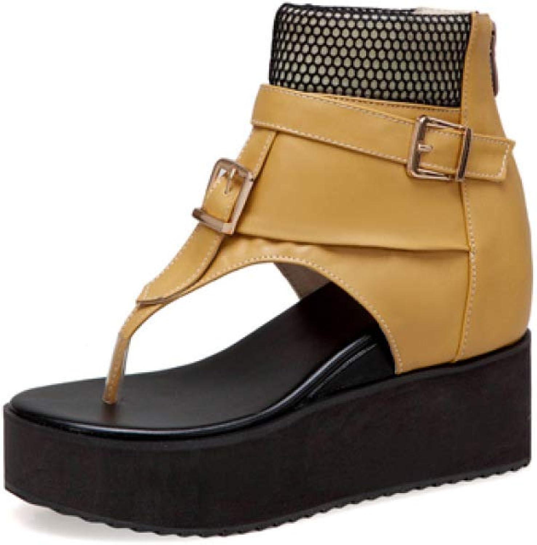 JOYBI Women's Flip Flops Clip Toe Anti-Skid Back Zipper Casual Comfy Height Increase Wedges Platforms Sandals