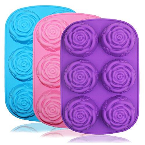 Senhai große Rosen-/Blumen-Silikonform für Kuchen, Brot, Pudding, Schokolade, Muffins, Seife, 6 Mulden, 3D-Eiswürfel, handgefertigt, Violett / Blau / Pink