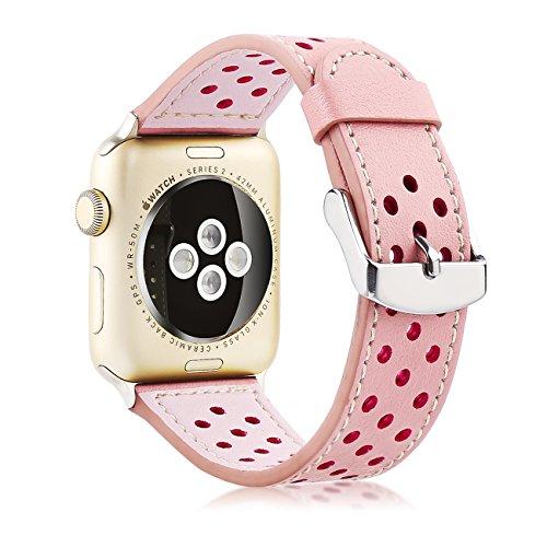 Xihe Apple Watch Banda 38/42mm Cuero Correa Respirable Smart Watch Banda Pulsera Pulsera de Recambio