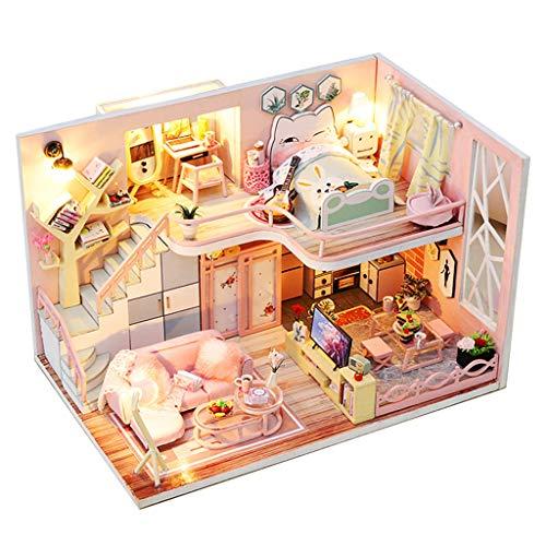 Momola Maison de poupée en bois miniatures DIY House Kit et LED Light-Blossom Age