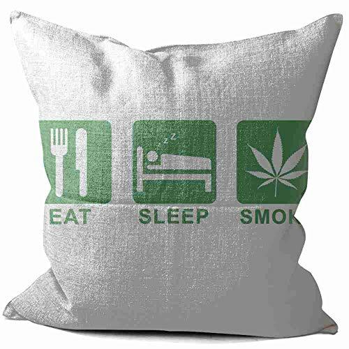 CibliUzHA Lino Cojines Eat, Sleep, Smoke Funda de Cojín Almohada Caso de Cojines para Sala de Estar sofá Cama 55x55 cm/22x22 Inch A#002