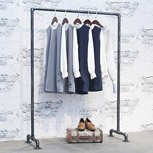 Industrial Pipe Retail Clothing Rack 59inVintage Standing Rolling Clothes Rack PortableBlack Garment Rack Display RackCommercial Heavy Duty Clothes Racks for Hanging Clothes