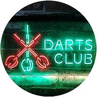 Dart Clubs Bar Pub VIP Open Dual Color LED看板 ネオンプレート サイン 標識 緑色 + 赤色 300 x 210mm st6s32-i3185-gr