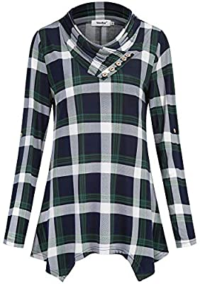 Sixother Women Flannel Tunic 3 4 Roll Sleeve Cowl Neck Asymmetrical Plaid Blouse