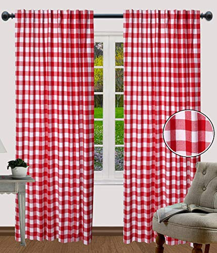 Rod Pocket Curtains, Curtains for Kitchen, Living Room Curtains, Check Cotton Curtains, Curtain Panels Sets, Farmhouse Curtains, Bedroom Curtain Panels - 50x108 Inch-Red White- Set of 2 Panels