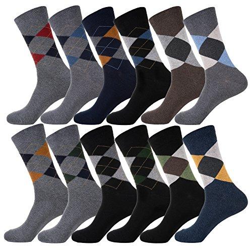 YourFeet Men's 12 Pairs Cotton Colorful Stripe Argyle Designed Business Dress Socks Gift Size 9-12 (Argyle assorted)