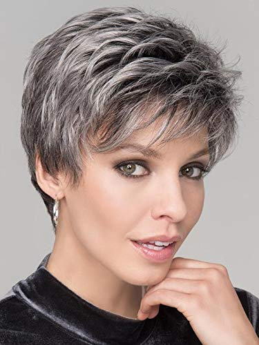 "Spring Hi Wig Petite Avg Cap Color Salt Pepper Mix - Ellen Wille Wigs 2.5"" Short Natural Lace Front Hairline Synthetic Monofilament Crown Neck Hugging Nape Bundle MaxWigs Hairloss Booklet"