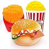 MMTX 3 Pezzi Giocattoli per Squishies a Crescita lenta,Soft Cut Squeeze Toys Kawaii Profumata Jumbo Regalo per decompressione Antistress perragazze Ragazzi (Hamburger,Popcorn,Patatine Fritte)