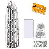 Ironing Board Cover and Pad Extra Thick Heavy Duty Padded 4 Layers Non Stick Scorch and Stain Resistant 15x54 and 3 Fasteners Elastic Edge with 2 Bonus Laundry Bag and Protective Scorch Mesh Cloth