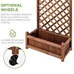Best choice products 60in wood planter box & diamond lattice trellis, mobile outdoor raised garden bed for climbing… 11 diamond lattice: a 60-inch trellis is woven in a tight, diamond pattern to provide structural support and plenty of space for climbing plants planter box: fill the 10-inch deep box with your favorite potted plants and a water-resistant liner (not included) or a fresh soil bed thanks to built-in drainage holes optional wheels: a set of 4 included wheels can easily attach for added mobility and come with two locks for stability
